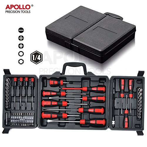 Hi-Spec 60 Piece DIY Cushion Grip Screwdriver, Metric Sockets, Complete Screwdriver Bit Set in a Sturdy Storage Case that keeps Tools Neat and Organized