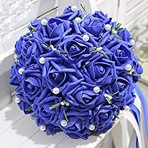 Bride Holding Bouquet of Artificial Rose Bouquet Wedding Flowers Bridal Bouquets 41