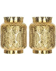 2 Piece Glass Gold Hurricane Lamps Candle Holders Bowl Decorative Vases for Flowers for Modern Home Decor- Centerpiece – 7.5 inch/19cms Tall - Living Room Table Desk Bedroom Patio Garden Gifts (Gold)