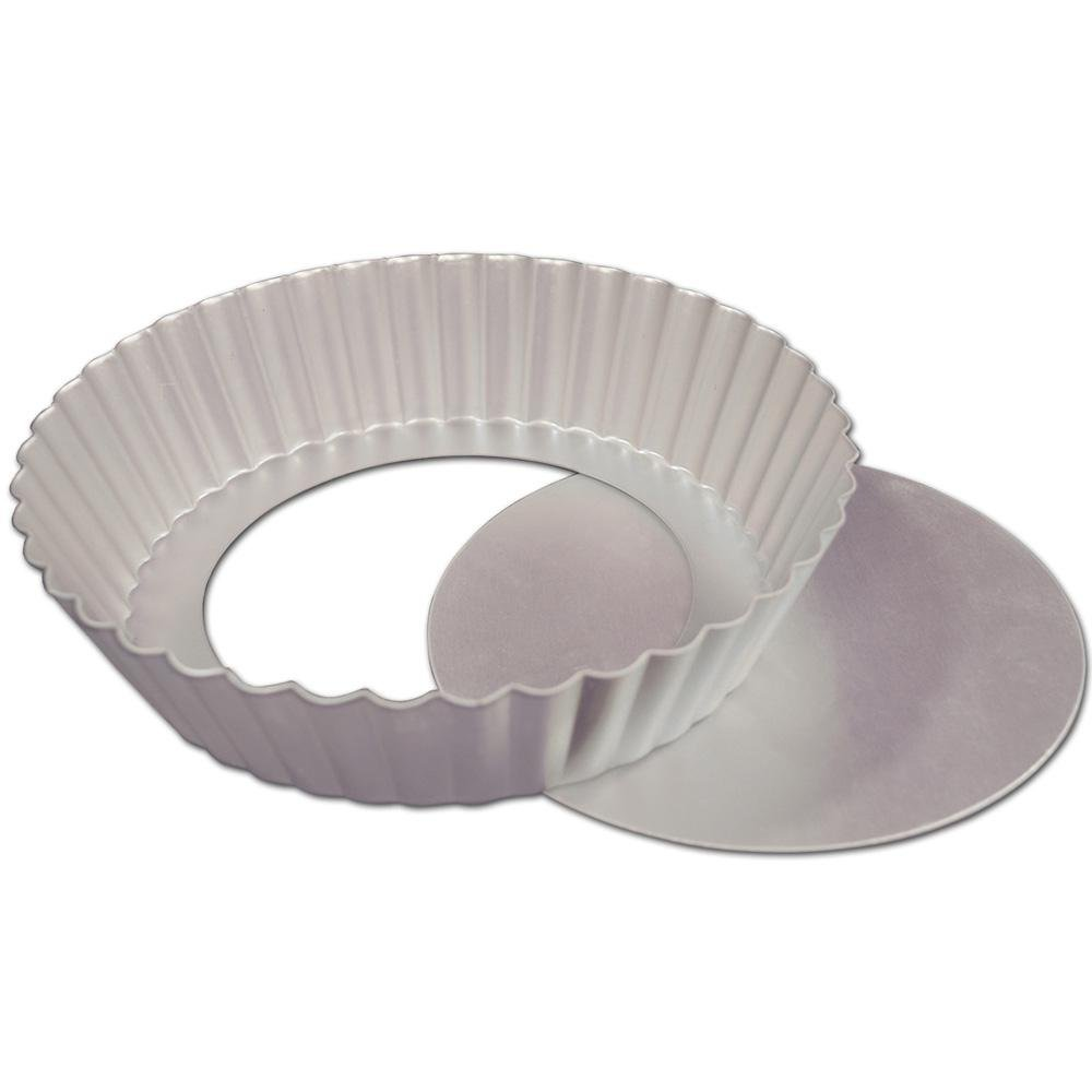 6.5 Inch x 1 Inch Fat Daddios Anodized Aluminum Fluted Tart Pan with Removable Bottom