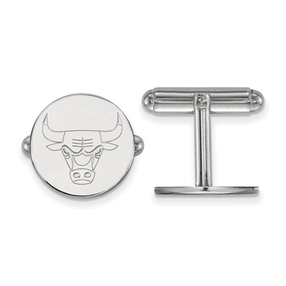 NBA Chicago Bulls Cuff Links in Rhodium Plated Sterling Silver