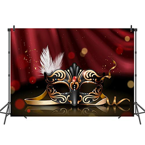 Mehofoto Retro Masquerade Backdrop Black and Gold Mask Photo Background for Parties 7x5 Attractive Mask Party Polyester Photo Backdrops for Debutante Ball -