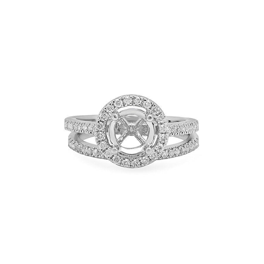 Dazzlingrock Collection 0.50 Carat (ctw) 14K Gold Round Diamond Halo Bridal Semi Mount Engagement Ring Matching Band Set 1/2 CT
