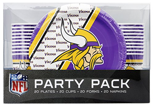 Duck House NFL Minnesota Vikings Party Packs Forks Cups Plates Napkins, One Size, Multicolor ()