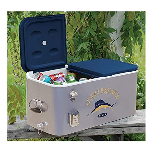 RIO Gear Tommy Bahama The Entertainer 77 Quart Steel Rolling Portable Patio Party Cooler