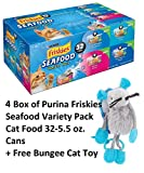 Purina Friskies Classic Pate Seafood Variety Pack Wet Cat Food, 32 - 5.5 oz. Cans (4 BOX + Free Toy)