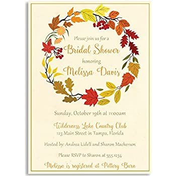 bridal shower invitation autumn wreath floral leaves fall country shabby chic fall in love orange personalized custom customizable