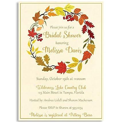 Amazon bridal shower invitation autumn wreath floral bridal shower invitation autumn wreath floral leaves fall country filmwisefo