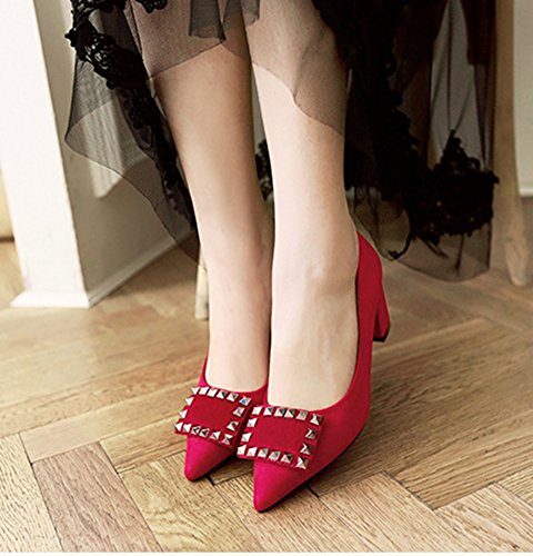 Pointed Korean Easemax Suede Womens Toe Shoes Rivits Heels Kitten Red Chunky Cut with Pumps Low qEq1r5Zwx