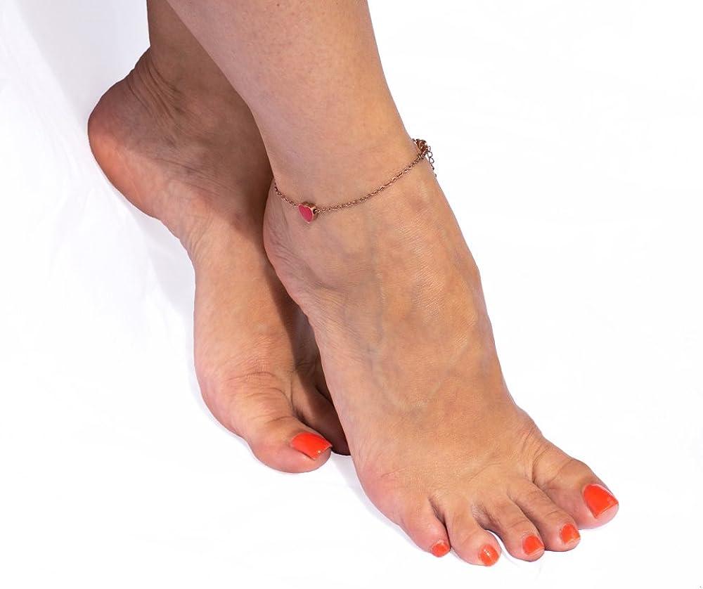 Bosa Cha/îne de cheville en acier inoxydable plaqu/é or rose avec pendentif c/œur rouge /émaill/é 27 cm