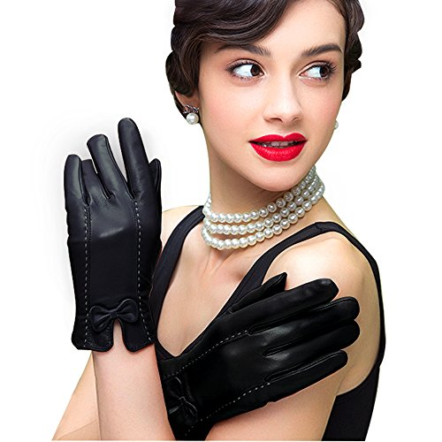 Edith qi Womens Genuine Leather Gloves,Nappa Touchscreen Texting Driving Warm Lining with Bow]()