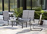 Cosco Outdoor Conversation Set, SmartConnect, 4 Piece, Charcoal Gray with Light Gray Cushions For Sale