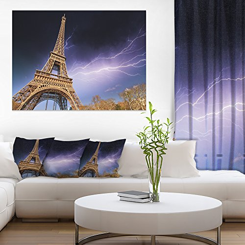 Design Art Beautiful View of Paris Eiffel Tower under Purple Sky Cityscape Canvas print