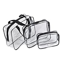 3 Pack Different Size PVC Toiletry Organizer Clear Cosmetic Bags with Zipper Travel Makeup Bag for Women