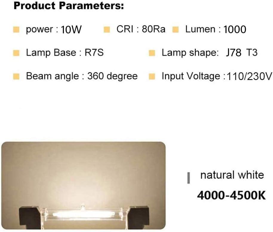 R7S LED Bulb 78Mm 10W 360 Degrees 1000LM Halogen Pencil Equivalent R7S 100W R7S J78 Slim COB LED Lamp Dimmable,2pcs,100~130V