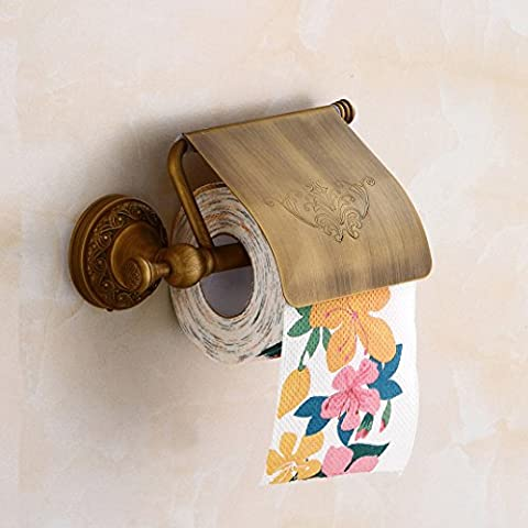 Aimeer Antique Brass Toilet Roll Paper Holder with Cover Bathroom Tissue Bracket Wall Mounted Paper - Vertical Stander