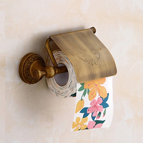 Aimeer Antique Brass Toilet Roll Paper Holder with Cover Bathroom Tissue Bracket Wall Mounted Paper Stander