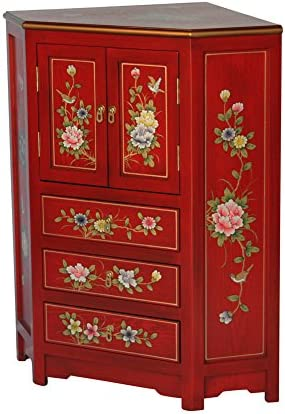 Chinese Arts, Inc Red Wooden Corner Cabinet Model 3243-R
