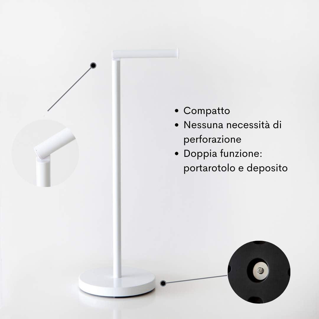 blanc, distributeur papier toilette moderne pour salle de bains avec espace pour 4 rouleaux de papier toilette de r/éserve KOOK TIME porte rouleau papier toilettes sur pied