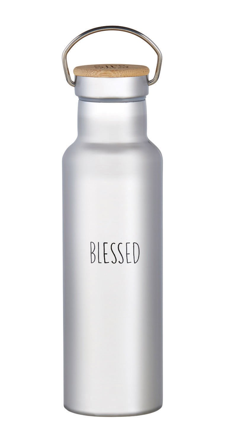 Blessed 20 Ounce Stainless Steel Thermal Tumbler with Screw-Top Wood Lid