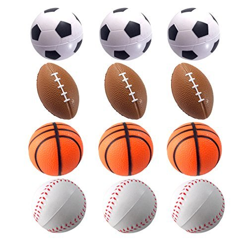 Mini Sports Balls for Kids Party Favor Toy, Soccer Ball, Basketball, Football, Baseball (12 Pack) Squeeze Foam for Stress, Anxiety Relief, Relaxation. (12 Pack (Mix Sports)) by Wall2Wall