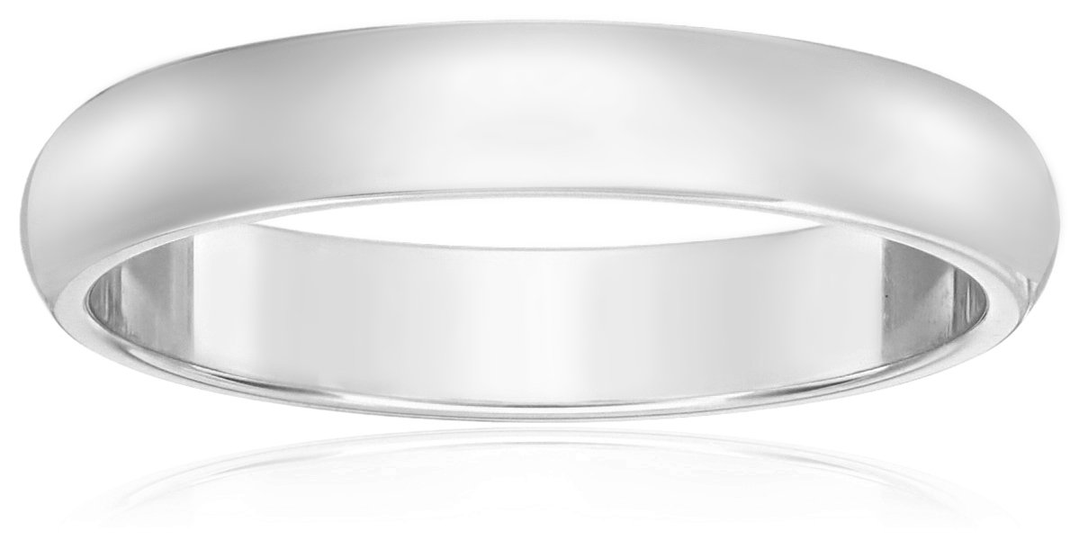 Classic Fit 10K White Gold Band, 3mm, Size 8