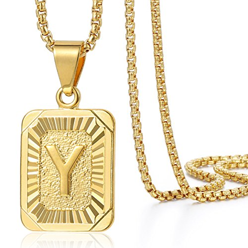 Trendsmax Mens Womens Yellow Gold Plated Square Capital Letter Y Pendant Necklace Stainless Steel Box Link Chain 22inch