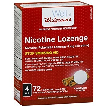 Walgreens Nicotine Lozenge, 4 mg, Cinnamon 72 - Replacement Nicotine