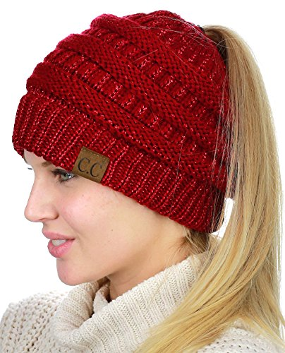 C.C BeanieTail Soft Stretch Cable Knit Messy High Bun Ponytail Beanie Hat, Red Metallic