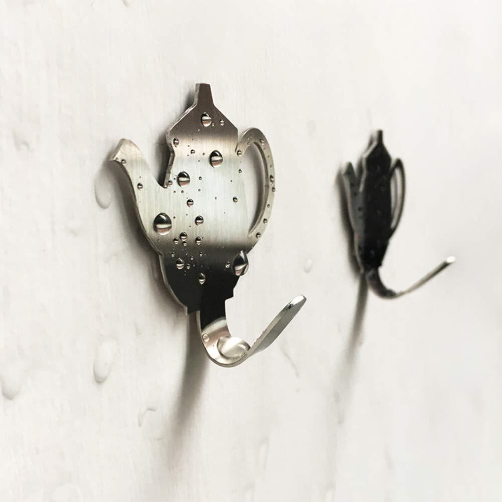 Appendiabiti Creativo a Forma di teiera in Acciaio Inox Senza Fori litty089 per Appendere Vestiti Cappotti Decorazione per la casa Grey