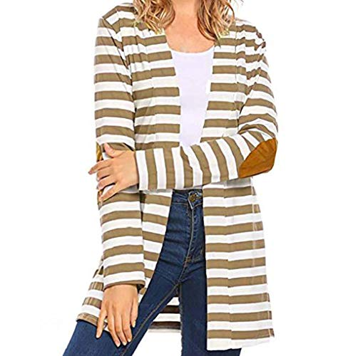 Outwear Khaki Casual Sleeve TUDUZ Striped Autumn Women Cardigans Patchwork Long Izpn1w8p