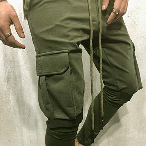 Élastique Hommes Décontractés Vert Pantalons Pieds À Rayé Séchage Petits Slim Pour Survêtement Avec Amuster De 8xpfttw