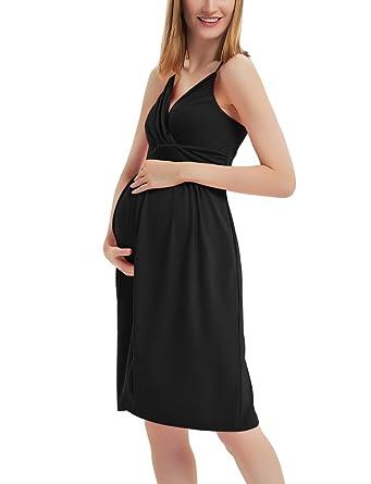 40e0ac79b0f61 GINKANA Women Maternity Dress Wrap Sweetheart with Adjustable Spaghetti  Straps Nursing Breastfeeding Dress Nightgown Black