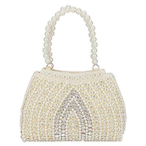 Suman's Enterprises Vintage Style Pearl Tote Bag Wrist Bag Evening Clutch Wedding Purse for Women & Girls ... ()