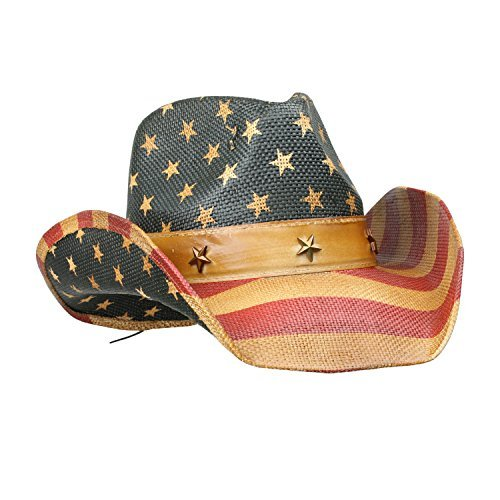Vintage Tea-Stained USA American Flag Cowboy Hat w/ Western Shape-It Brim, One -