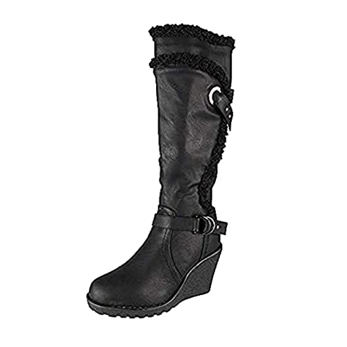 3139d6d7811 Loud Look Womens Ladies Mid Calf High Boots Buckle Casual Work Zip Wedge  Heel Shoes Size 3-9  Amazon.co.uk  Shoes   Bags