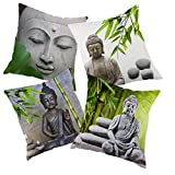 dodola Decorative Throw Pillow Covers Buddha Bamboo Cotton Linen Cushion Covers for Spa Meditation Yoga Room Decor 4Pcs