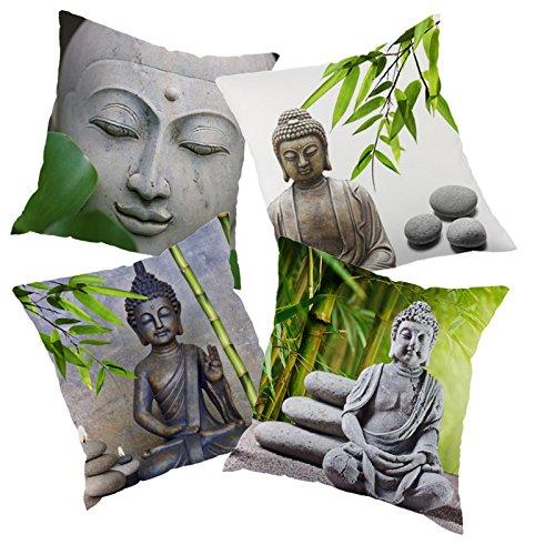 dodola Decorative Throw Pillow Covers Buddha Bamboo Cotton Linen Cushion Covers for Spa Meditation Yoga Room Decor 4Pcs by dodola (Image #6)