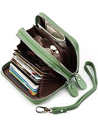 Cartera pequeña tarjetero de cuero auténtico con cierre, para resguardar las tarjetas de crédito, para damas.