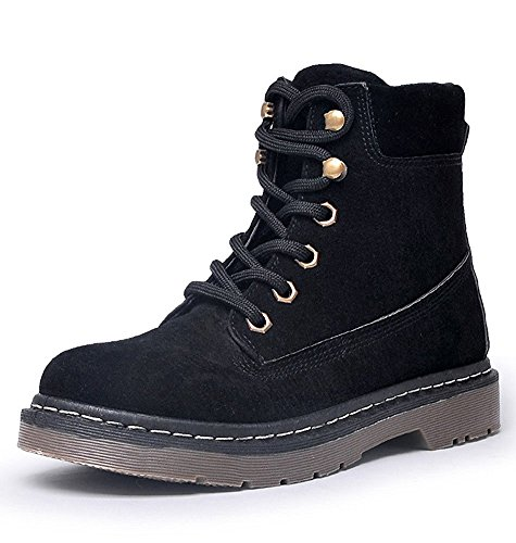 Maybest Women Combat Booties Casual Winter Outdoor Warm Lace Up Schoenen Damesmode Vintage Walking Enkellaars Wandelschoen Zwart