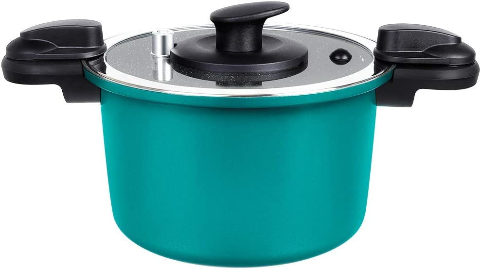 FGY Nonstick Pressure Stock Pot with Lid, 6 Quart Saucepot with Stone-derived Ceramic Coating, 2 Times Faster, Pressure Cooker Cooking for Soup, Pasta, Ues for Gas, Induction, Ceramic and Electric (6 Quart - Green)