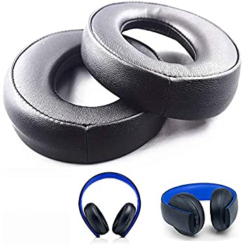 Replacement Ear Pads Cushions, Headphone Pillows Earpads for Sony PS3 PS4 Gold Wireless Playstation 3 Playstation 4 CECHYA-0083 Stereo 7.1 Virtual Surround Headphones (Black)