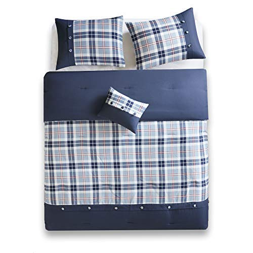 (Comfort Spaces Harvey 3 Piece Comforter Set Plaid Perfect for College Dormitory, Guest Room Bedding, Twin/Twin XL, Blue)