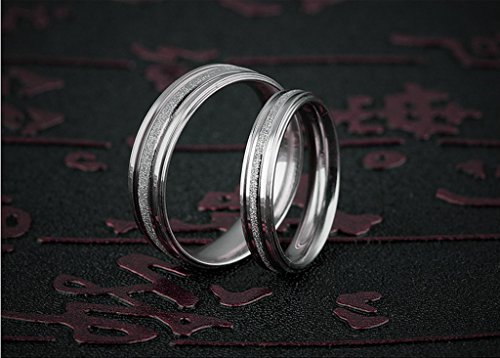 Stainless Steel Couple Wedding Bands for Him and Her 4MM Womens Promise Engagement Rings Size 7 by Aienid (Image #4)