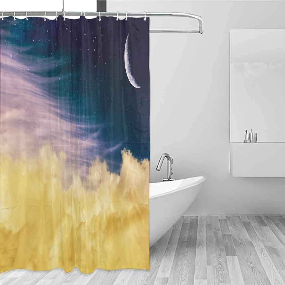 BE.SUN Womens Shower Curtain,Surrealistic,Single stall Shower Curtain,W72x84L Light Blue Lilac Yellow by BE.SUN
