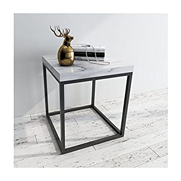 Amazoncom Roomfitters Side End Table Marble Print Top Metal