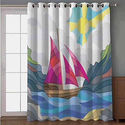 iPrint Blackout Patio Door Curtain,Modern,Sun Sky Clouds Sail