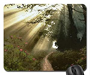 streaming sunbeams Mouse Pad, Mousepad (Forests Mouse Pad, Watercolor style) by runtopwell