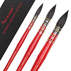 Dainayw 3 PCS Professional Watercolor Paint Brushes, Round Squirrel Hair Paint Brush Set for Art Painting, Gouache, Wash/Mop, Artist Quality Supplies Red Handle