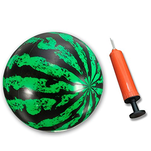 [Grabley Watermelon Ball, Pump, Inflation Needle in One Set for Indoor and Outdoor Games, Fun All Around] (Watermelon Ball)